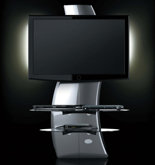 support meuble tv blanc kit d clairage led c ble hdmi top achat. Black Bedroom Furniture Sets. Home Design Ideas