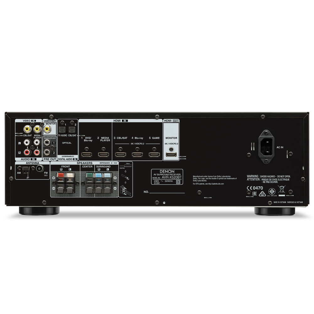 ampli audio vid o denon avr x520bt noir top achat. Black Bedroom Furniture Sets. Home Design Ideas