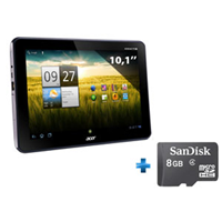 Acer Iconia Tab A200, Gris, 8 Go + Carte Mémoire Micro SDHC Sandisk 8 Go
