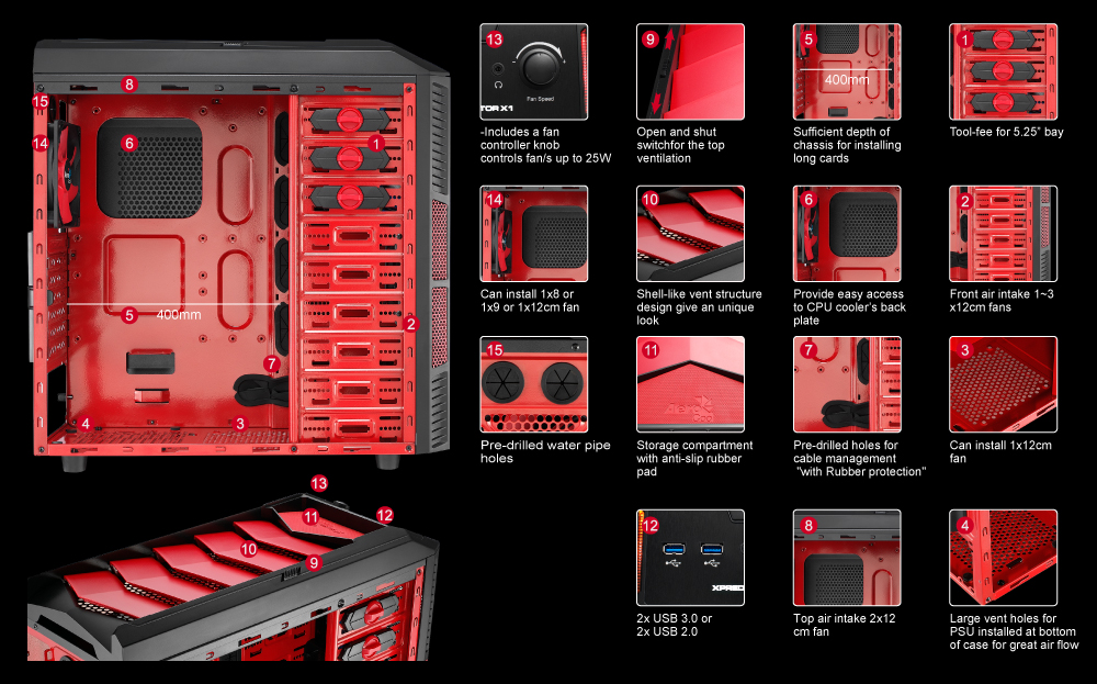 aerocool xpredator x1 devil red edition top achat. Black Bedroom Furniture Sets. Home Design Ideas