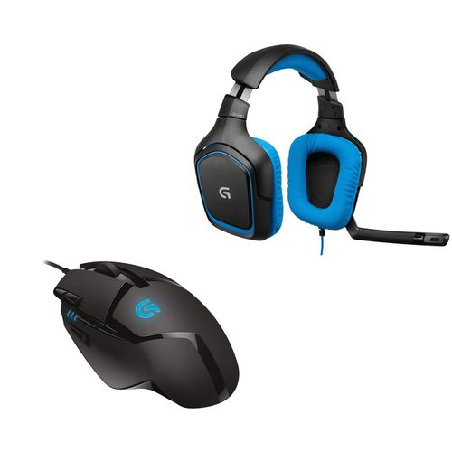 Pack Gaming Logitech, Souris G402 Hyperion Fury + Casque-micro G430