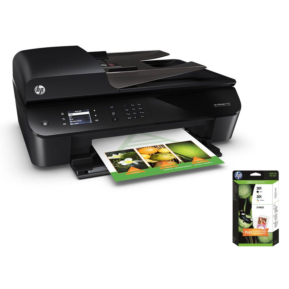 hp officejet 4630 e all in one 1 pack de 2 cartouches noire et couleurs hp 301 top achat. Black Bedroom Furniture Sets. Home Design Ideas