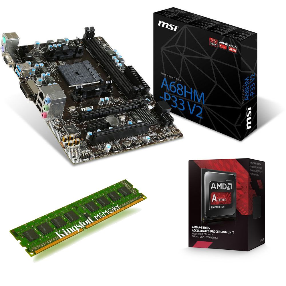 kit d 39 volution amd a6 7400k 3 5 ghz msi a68hm p33 v2 4 go top achat. Black Bedroom Furniture Sets. Home Design Ideas