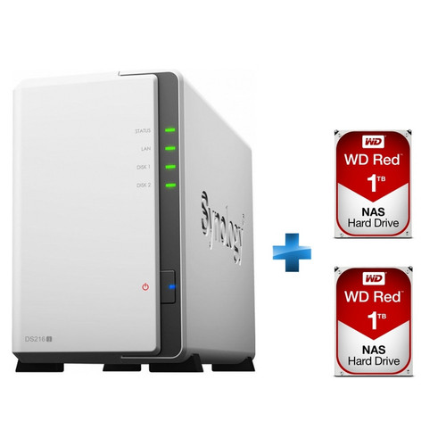 Synology DS216j + 2 x Western Digital WD Red, 1 To