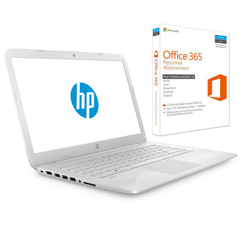 HP Stream 14-AX003NF Blanc + Microsoft Office 365 Personnel (1 an)