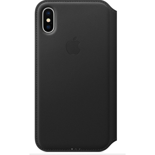 Apple Leather Folio pour iPhone X Noir