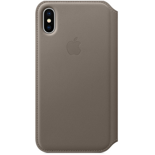 Apple Leather Folio pour iPhone X Taupe