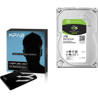 KFA2 Gamer SSD L, 120 Go, SATA III + Seagate BarraCuda, 1 To