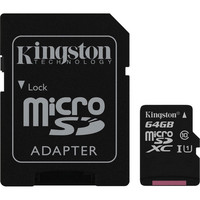 Carte M�moire Micro SDXC UHS-I Kingston SDCS, 64 Go, Classe 10 + Adaptateur SD