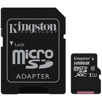 Carte M�moire Micro SDXC UHS-I Kingston SDCS, 128 Go, Classe 10 + Adaptateur SD