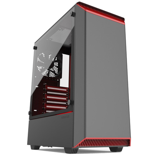 Phanteks Eclipse P300 Tempered Glass, Noir/Rouge