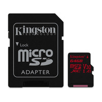 Carte M�moire Micro SDXC U3 Kingston SDCR, 64 Go, Classe 10 + Adaptateur SD
