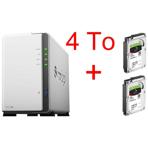 Synology DS218J + 2 x Seagate IronWolf, 2 To