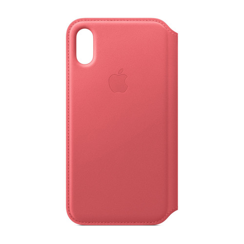 Apple iPhone Xs Leather Folio - Rose Pivoine