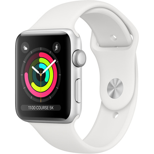 Apple Watch 3 38 mm Alu argent - Bracelet Sport Blanc