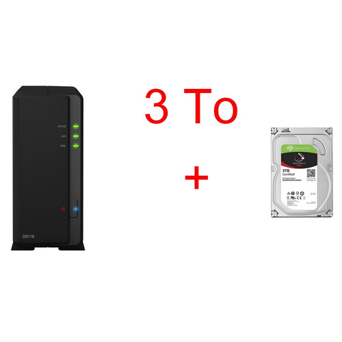 Synology DS118 + Seagate IronWolf, 3 To