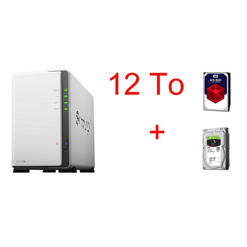 Synology DS218J + Seagate IronWolf, 6 To + Western Digital WD Red, 6 To