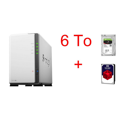 Synology DS218J + Seagate IronWolf, 3 To + Western Digital WD Red, 3 To