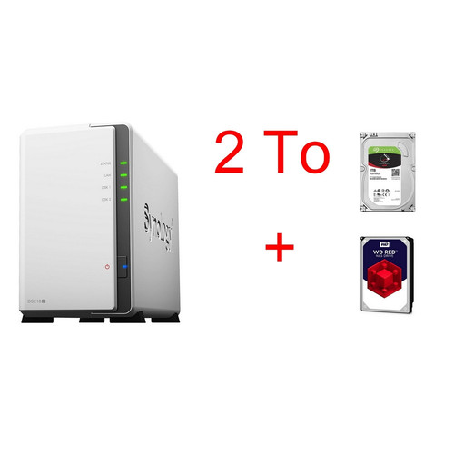 Synology DS218J + Seagate IronWolf, 1 To + Western Digital WD Red, 1 To