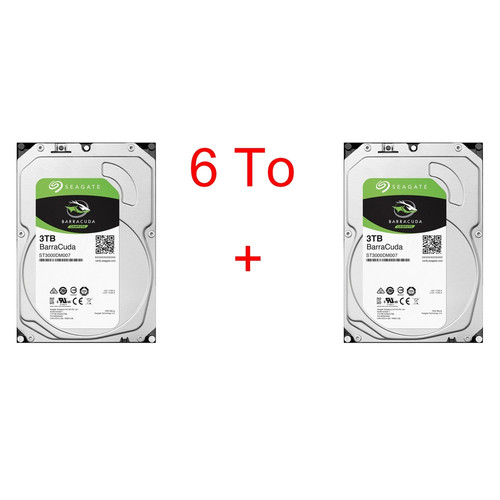 Lot de 2 disques durs Seagate BarraCuda, 3 To