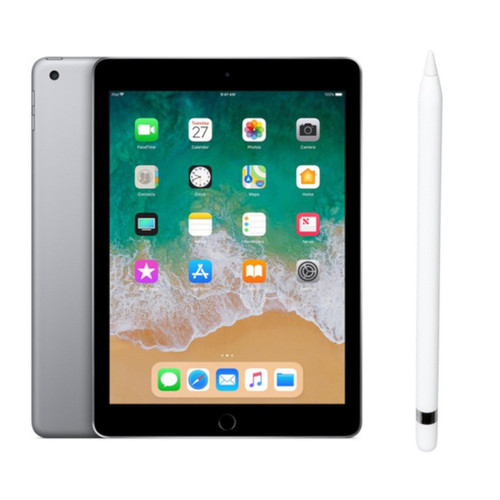 Apple iPad 32 Go Wifi Gris sidéral (2018) + Apple Pencil Blanc