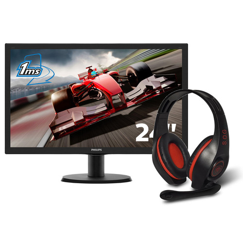 Philips 243V5LHSB + Spirit of Gamer PRO-H5 - Rouge