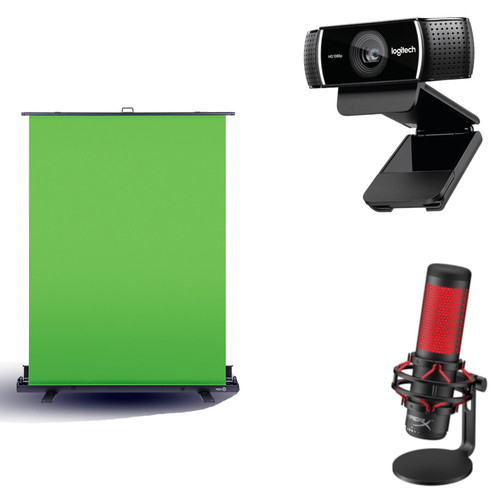 Pack Caster Green Screen + Logitech C922 Pro Stream + QuadCast Microphone