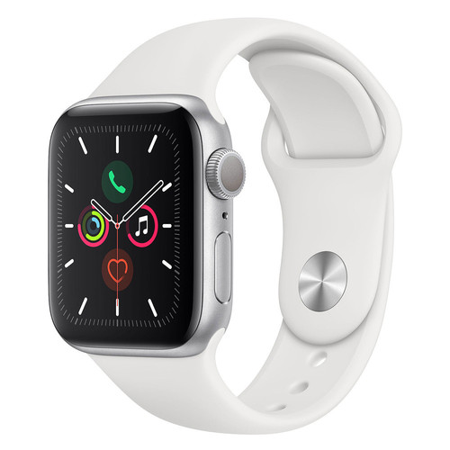Apple Watch Series 5 - 44mm - Alu Argent - Bracelet Sport Blanc