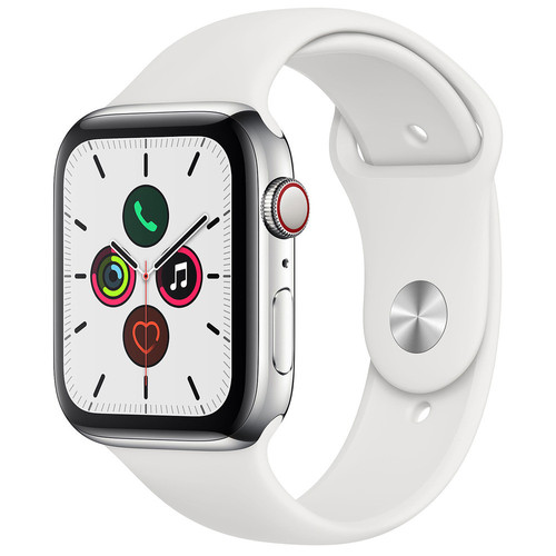 Apple Watch Series 5 GPS + Cellular - 44mm - Acier - Bracelet Sport Blanc