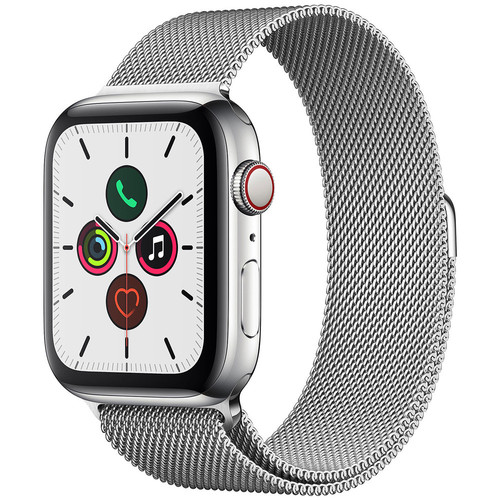 Apple Watch Series 5 GPS + Cellular - 44mm - Acier - Bracelet Milanais Argent