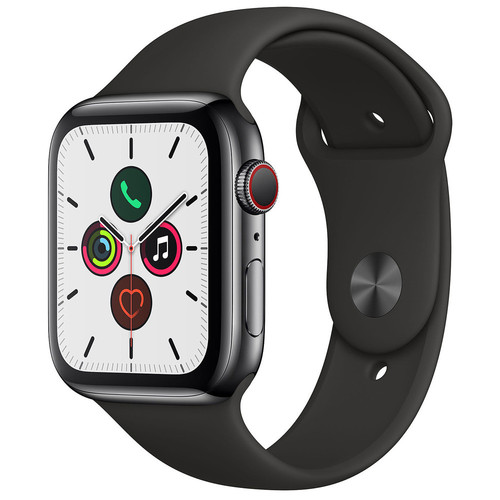 Apple Watch Series 5 Cellular - 44mm - Acier noir / Bracelet Sport Noir