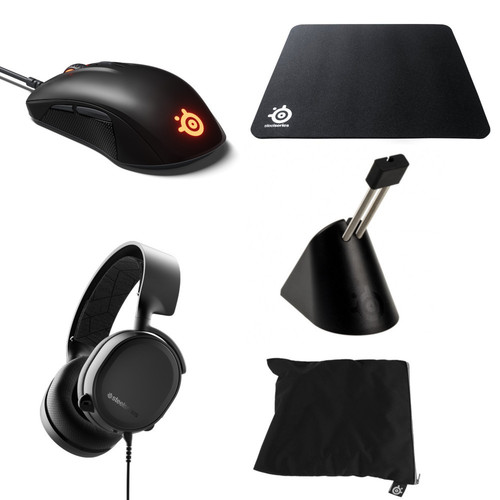 Steelseries Arctis 3 (2019 Edition) + Rival 110 + Tapis + Bungee + Sac