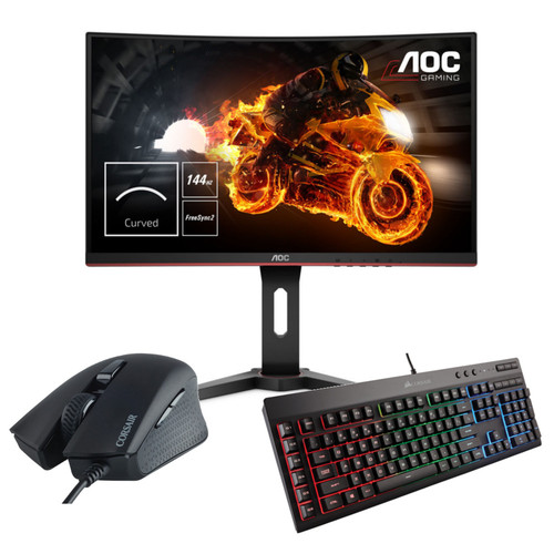 AOC C24G1 FreeSync (dalle incurvée) + Corsair K55 RGB (AZERTY) + Harpoon RGB