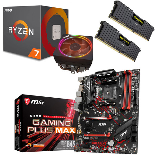 Kit évo Ryzen 7 2700X (3.7 GHz) + MSI B450 GAMING PLUS MAX + 16 Go
