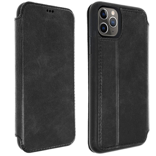 Akashi Etui Folio Cuir Italien - Apple iPhone 11 Pro Max - Noir