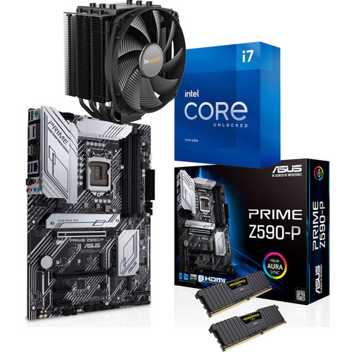 Kit évo Intel Core i7-11700K + Asus Prime Z590-P + Dark Rock 4 + 16 Go