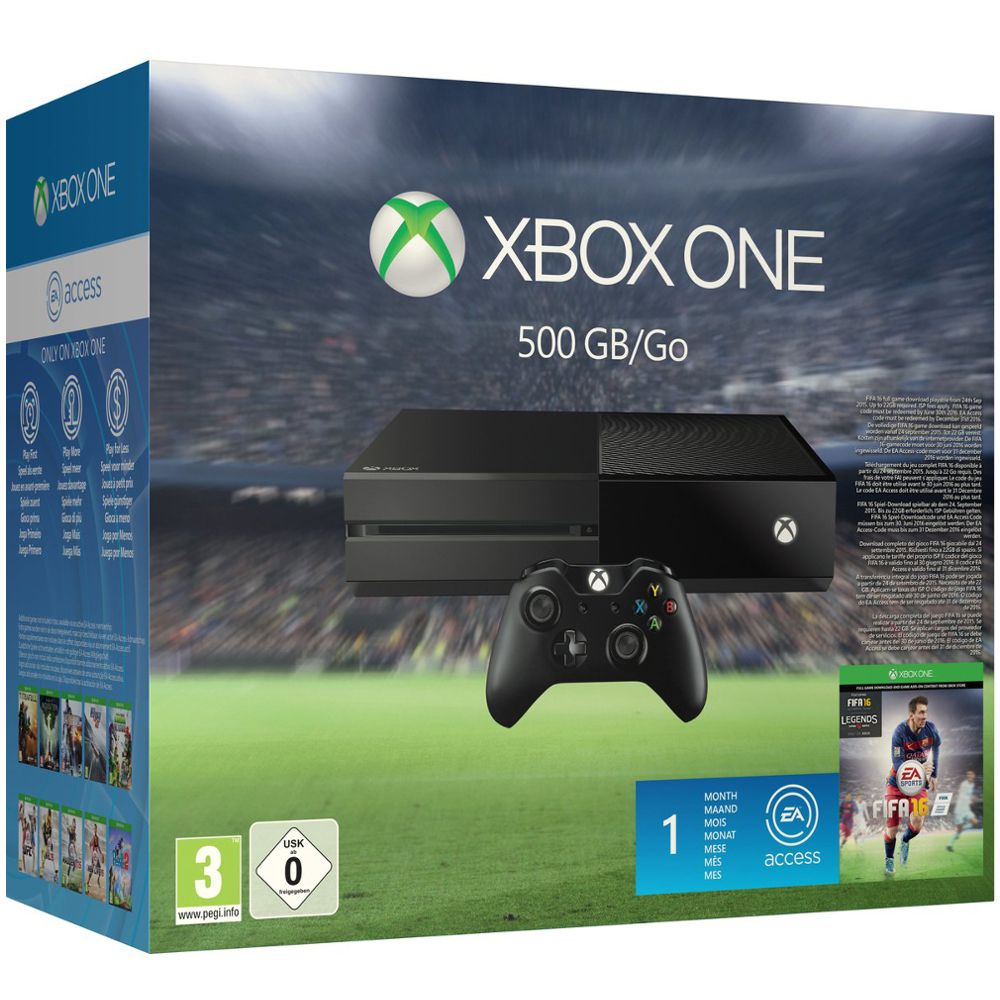 microsoft xbox one 500 go fifa 16 top achat. Black Bedroom Furniture Sets. Home Design Ideas