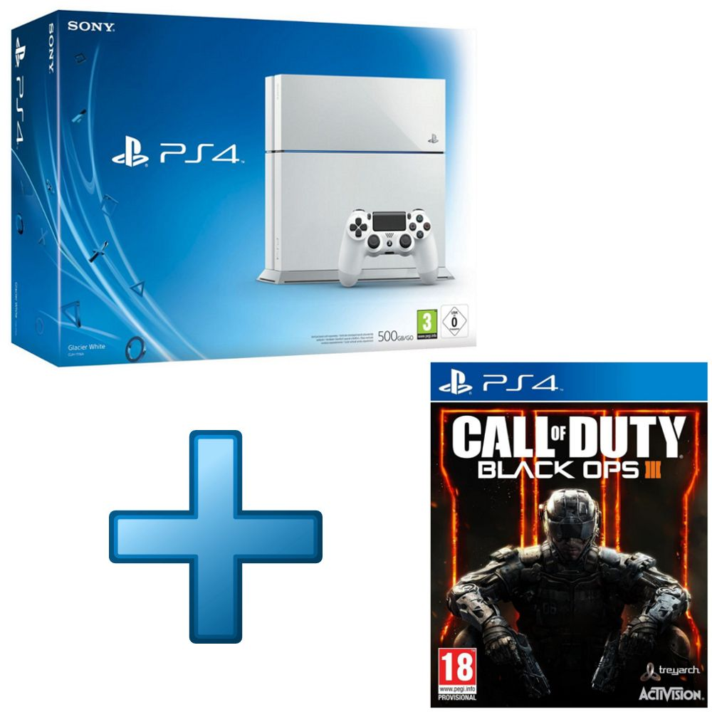 sony playstation 4 blanche 500 go call of duty black. Black Bedroom Furniture Sets. Home Design Ideas