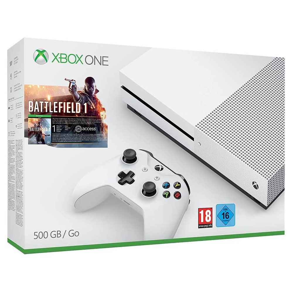 microsoft xbox one s 500 go battlefield 1 top achat. Black Bedroom Furniture Sets. Home Design Ideas
