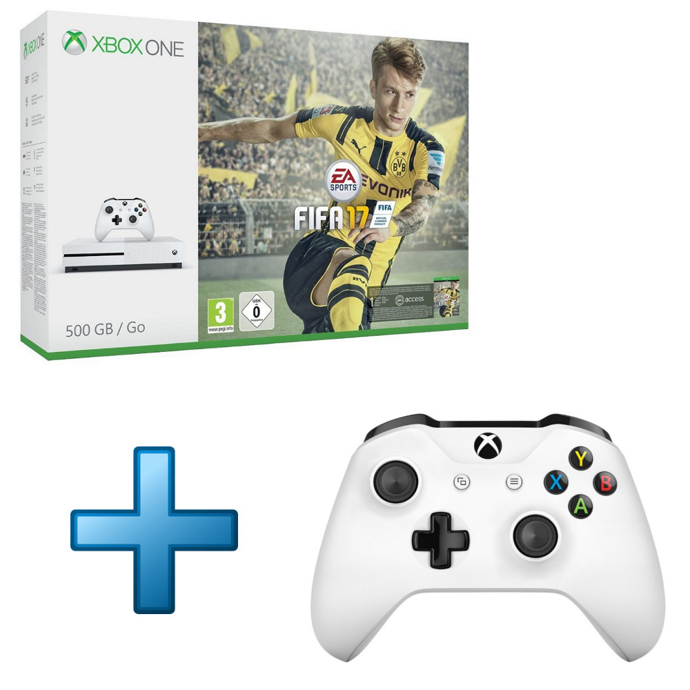 microsoft xbox one s 500 go fifa 17 2e manette sans. Black Bedroom Furniture Sets. Home Design Ideas