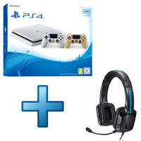 Sony PlayStation 4 Slim (500 Go) + 2�me manette Or + Casque Tritton Kama Blanc