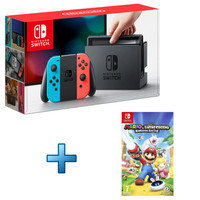 Nintendo Switch - Rouge / Bleu + Mario : The Lapins Cr�tins - Kingdom Battle