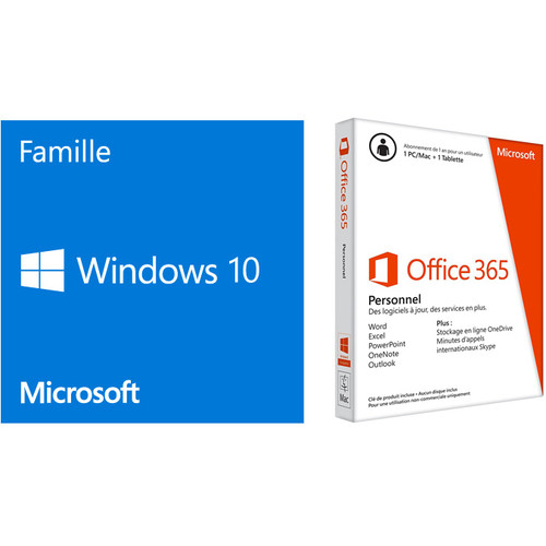 Microsoft Windows 10 Famille, 64 bits + Office 365 Personnel (Abonnement 1 an)