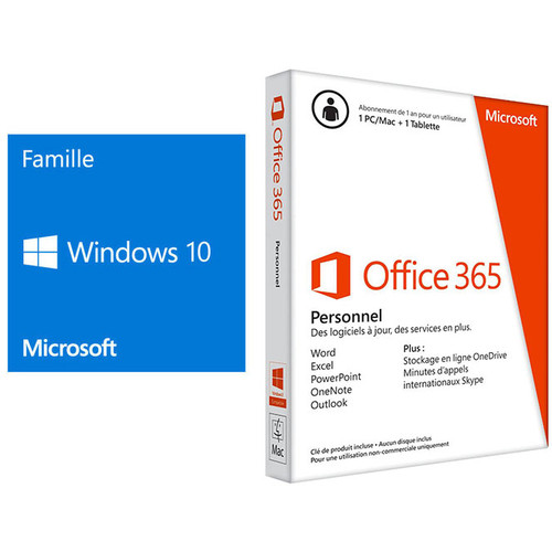 Microsoft Windows 10 Famille, 64 bits, OEM + Microsoft Office 365 (abo 1 an)