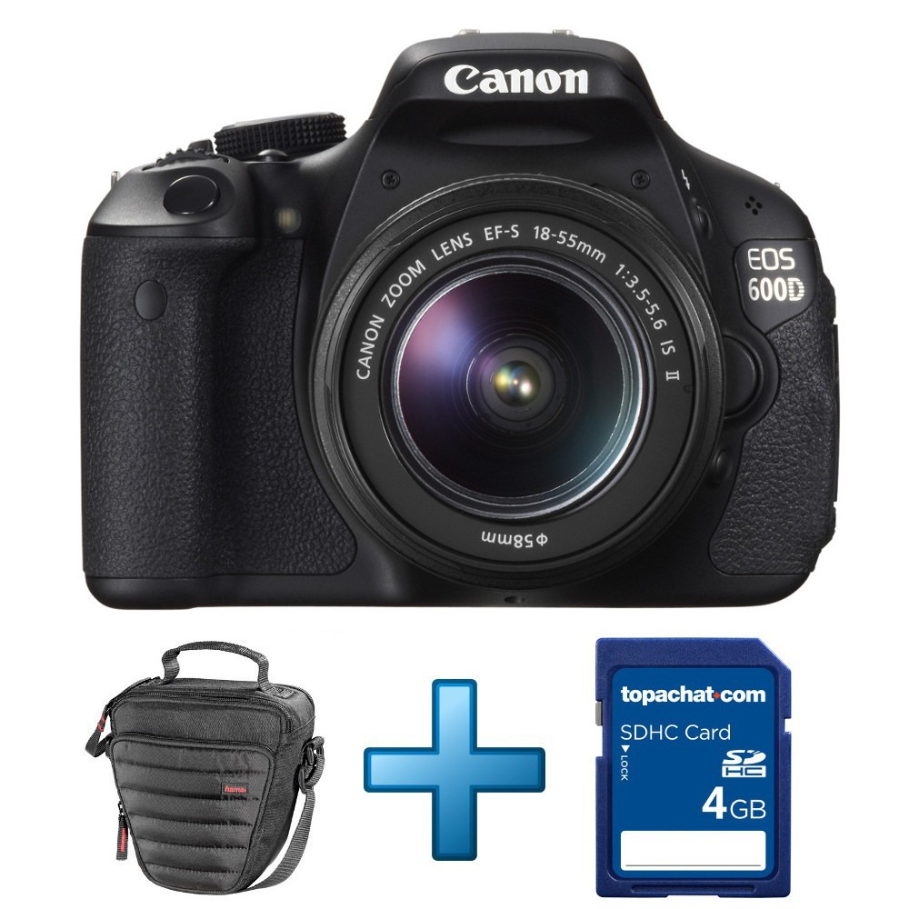 Canon eos 600d objectif 18 55 mm is ii housse carte for Housse canon eos 600d