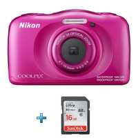 Nikon Coolpix W100 - Rose + carte SD 16 Go