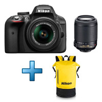 Nikon D3300 + Objectif 18-55 mm + Objectif 55-200 mm + Sac � dos �tanche