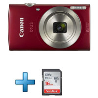 Canon Ixus 185 Rouge + Carte Sd 16 Go