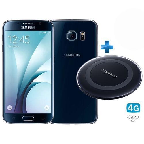 samsung galaxy s6 noir cosmos 4g chargeur induction bleu top achat. Black Bedroom Furniture Sets. Home Design Ideas
