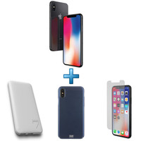 Apple iPhone X 64 Go (4G) - Gris Sideral + Powerbank + Coque + Verre trempé